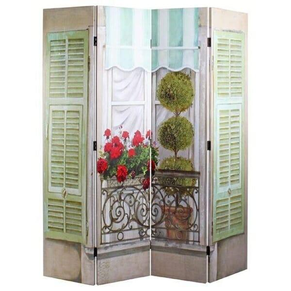 Интериорен параван имитиращ балкон с цветя