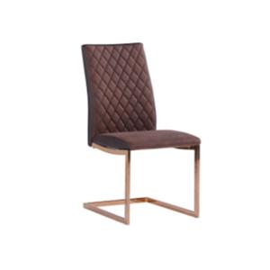 Кафяв стол от еко кожа с нестандартни крака