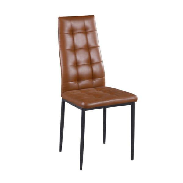 Кафяв трапезен стол от еко кожа