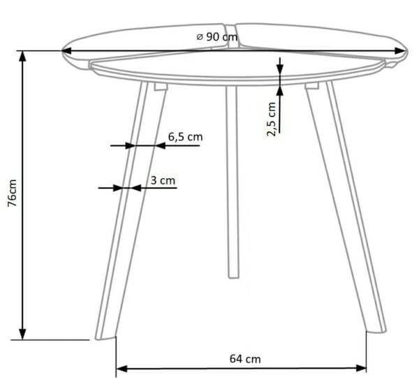 Компактна кръгла маса в скандинавски стил-размери