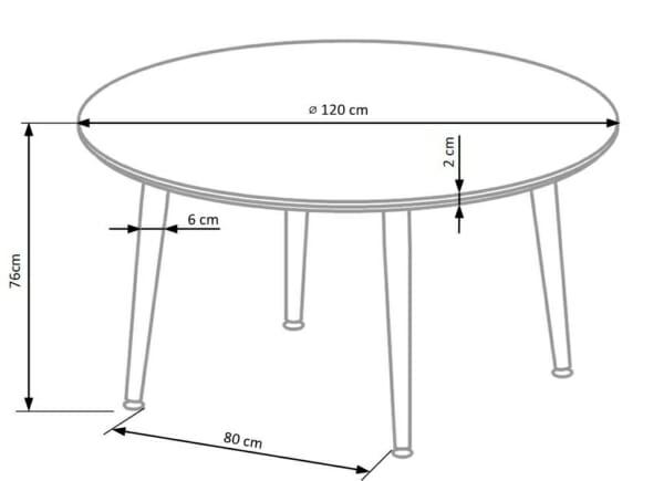 Кръгла маса с плот имитиращ мрамор-размери