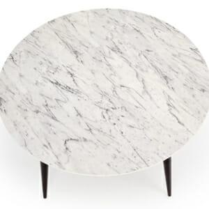 Кръгла маса с плот имитиращ мрамор - снимка отгоре