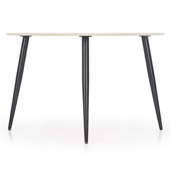 Кръгла маса с плот имитиращ мрамор - снимка отстрани