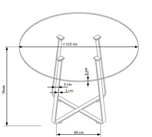 Кръгла трапезна маса със стъклен плот в бял цвят-размери