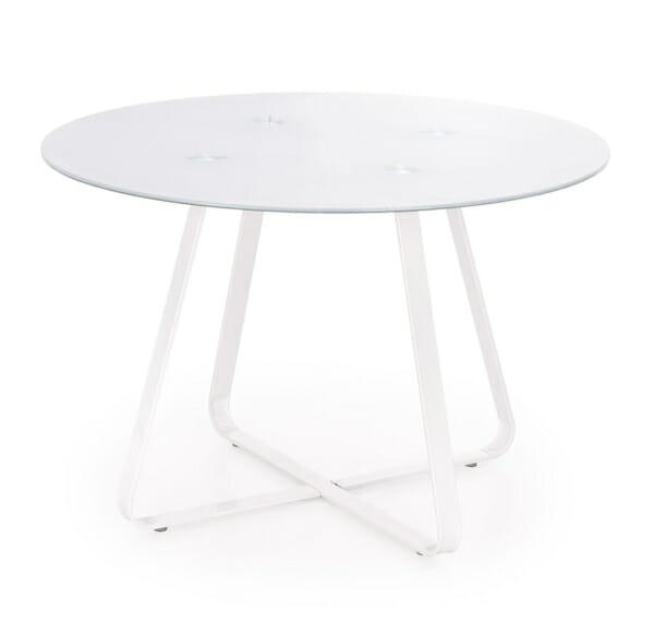 Кръгла трапезна маса със стъклен плот в бял цвят-снимка на плота