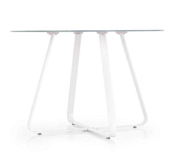Кръгла трапезна маса със стъклен плот в бял цвят-снимка отстрани