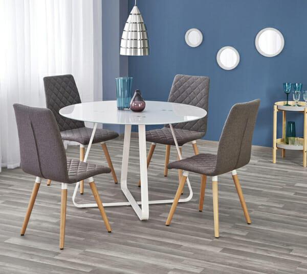 Кръгла трапезна маса със стъклен плот в бял цвят