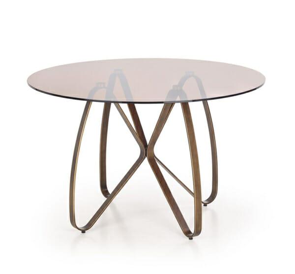 Луксозна кръгла маса със стъклен плот-снимка на бял фон