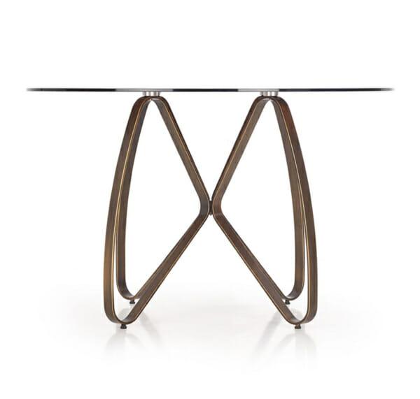 Луксозна кръгла маса със стъклен плот-снимка отстрани-2