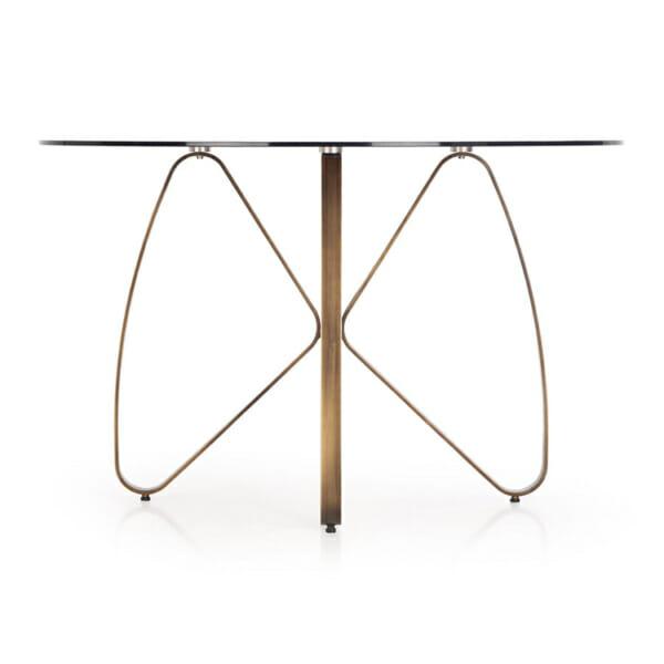 Луксозна кръгла маса със стъклен плот-снимка отстрани-3