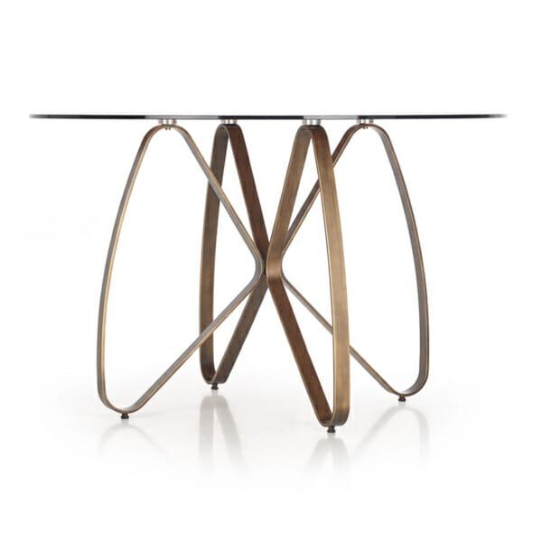 Луксозна кръгла маса със стъклен плот-снимка отстрани