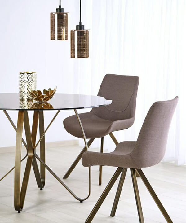 Луксозна кръгла маса със стъклен плот-2