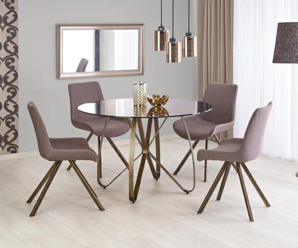 Луксозна кръгла маса със стъклен плот