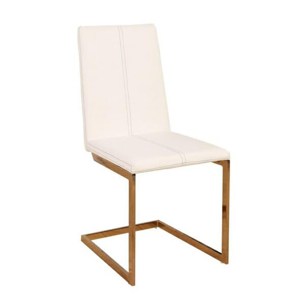 Модерен бял трапезен стол с извита основа