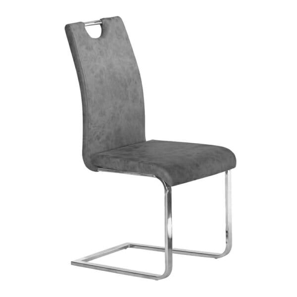 Модерен сив трапезен стол от еко кожа