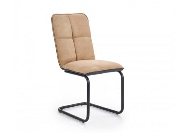 Модерен трапезен стол с мека седалка и облегалка в бежов цвят