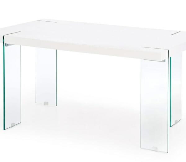 Модерна бяла маса със стъклени крака Уайт в близък план