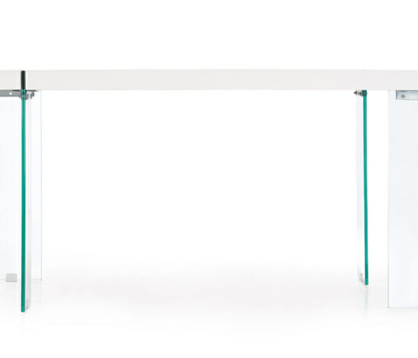 Модерна бяла маса със стъклени крака Уайт-отстрани