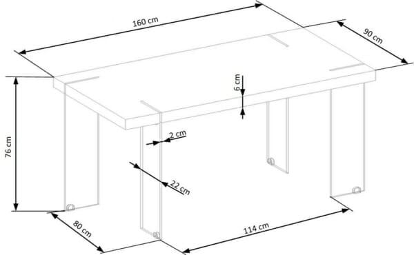 Модерна бяла маса със стъклени крака Уайт-размери