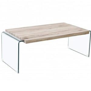 Модерна стъклена холна маса с дървен плот Джия