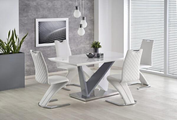 Модерна трапезна маса в бяло и сиво Джеймс