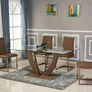 Модерна трапезна маса със стъклен плот и кафява основа