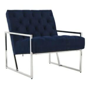 Модерно кресло с метална конструкция - синьо