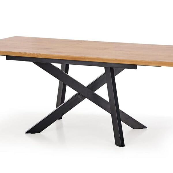 Правоъгълна разтегателна маса в индустриален стил-снимка на масата отблизо
