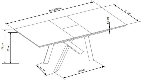 Правоъгълна разтегателна маса в индустриален стил-размери