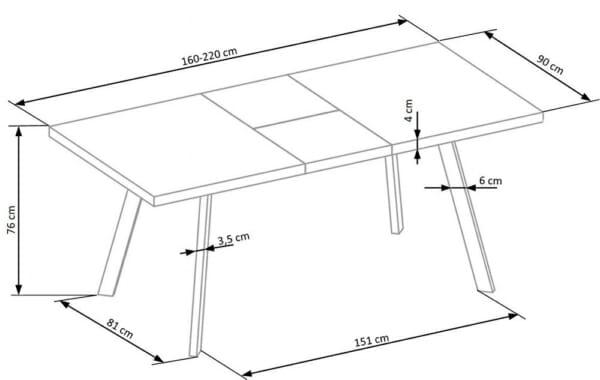Разтегателна маса с плот имитиращ мрамор-размери
