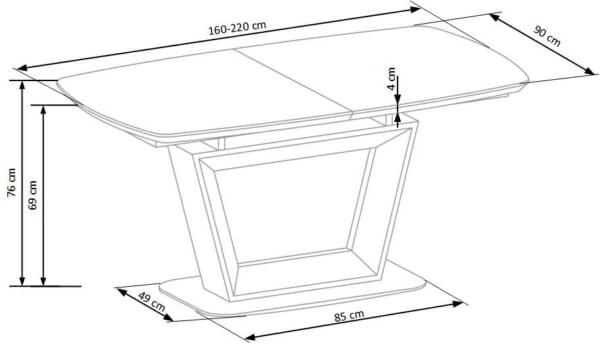 Разтегателна трапезна маса с нестандартен дизайн-размери