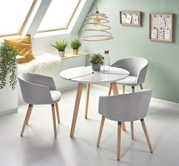 Трапезен кът с компактна кръгла маса в скандинавски стил