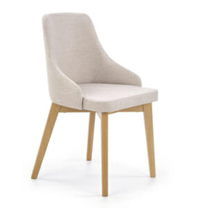 Трапезен стол крака меден дъб и бежова дамаска