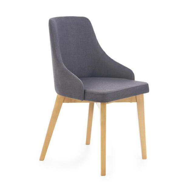 Трапезен стол крака меден дъб и дамаска графит