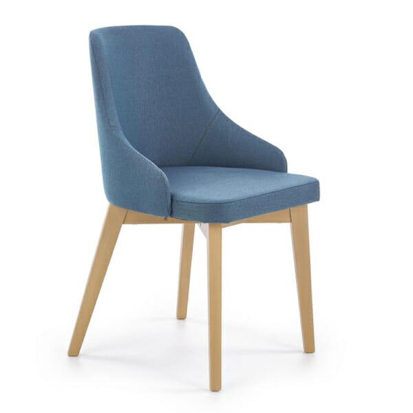 Трапезен стол крака меден дъб сонома и синя дамаска