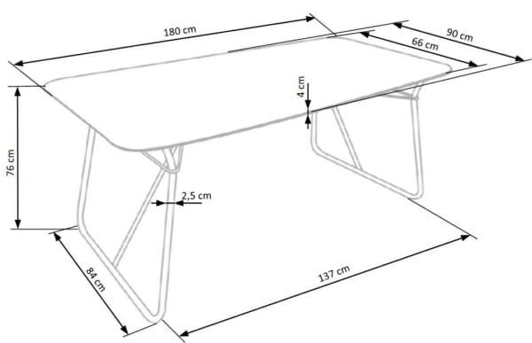 Трапезна маса в индустриален стил Хюи-размери
