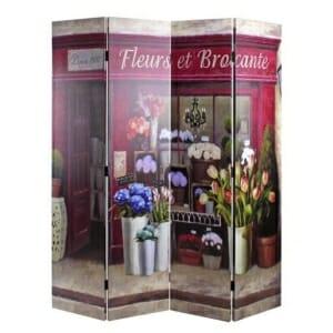 Четирикрилен параван като магазинче за цветя