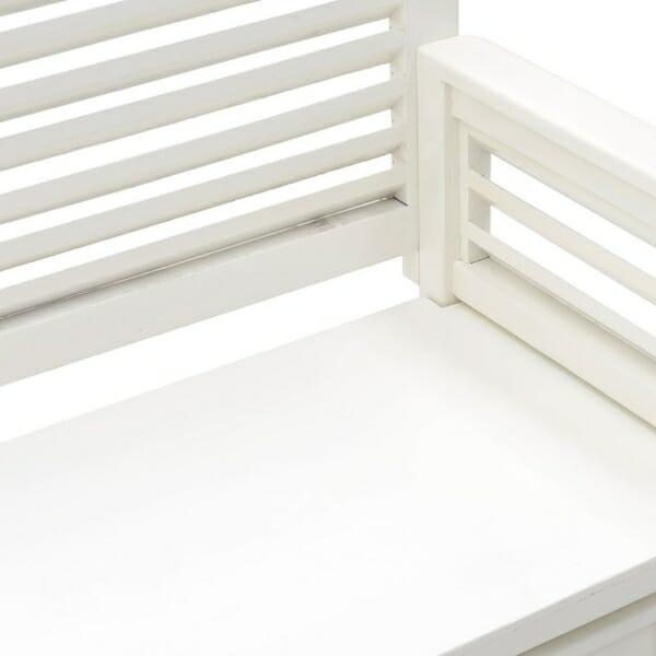 Бяла пейка с облегалка и чекмеджета - отблизо