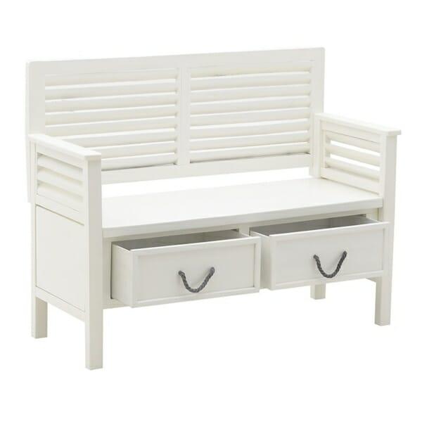 Бяла пейка с облегалка и чекмеджета - отворена
