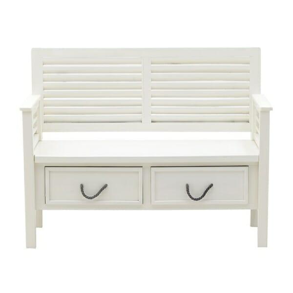 Бяла пейка с облегалка и чекмеджета - отпред