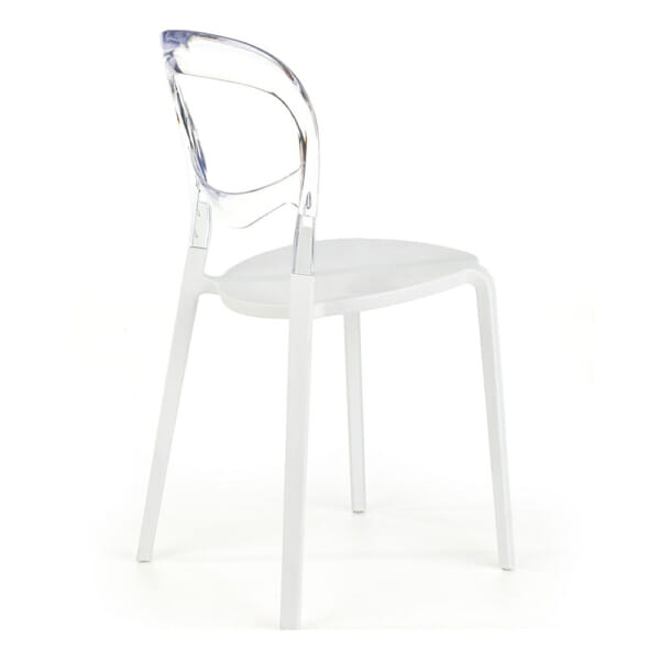 Бял трапезен стол с прозрачна облегалка - странично