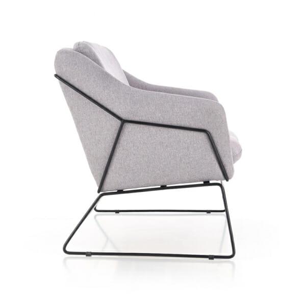 Двуместна пейка с дамаска в сив цвят-снимка отстрани