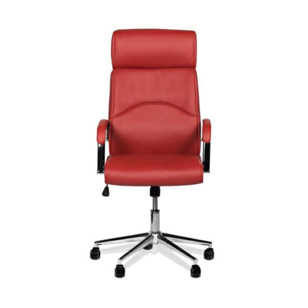 Директорски офис стол от еко кожа-цвят вишна-снимка отпред