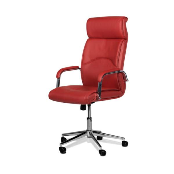 Директорски офис стол от еко кожа-цвят вишна-снимка отстрани