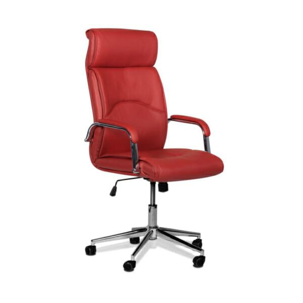 Директорски офис стол от еко кожа-цвят вишна