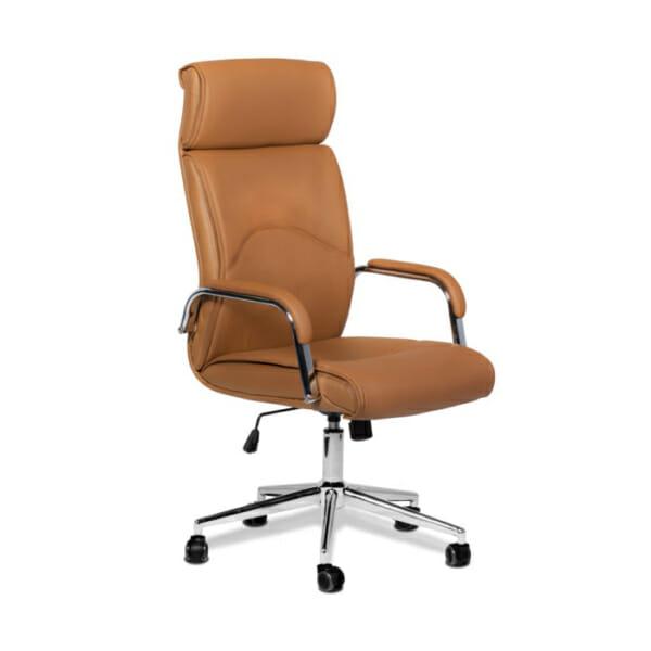 Директорски офис стол от еко кожа-цвят кафе