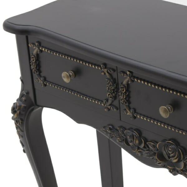 Дървена конзола в черно със златисти акценти - декорация