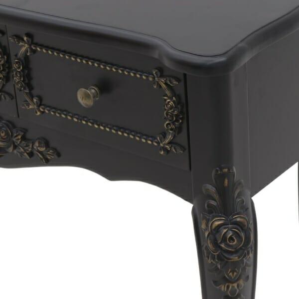 Дървена конзола в черно със златисти акценти - отблизо