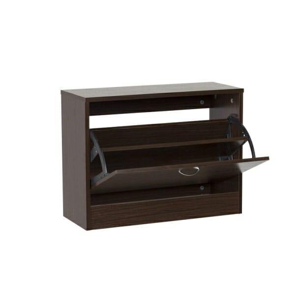 Дървено шкафче за обувки за коридор цвят венге-отворено