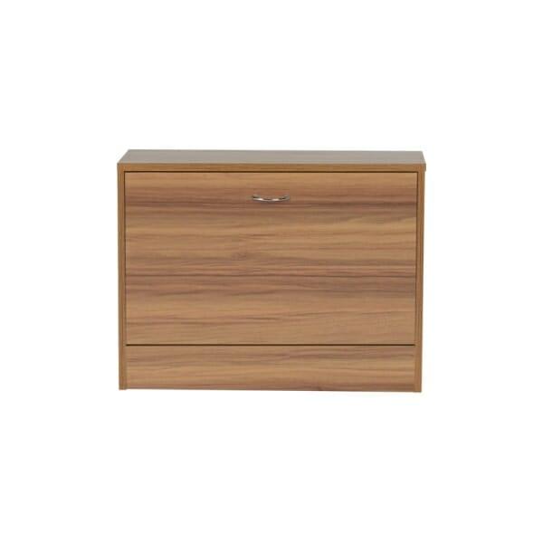 Дървено шкафче за обувки за коридор цвят орех-отпред